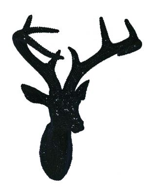 008195 Pearl Black Star Studded Stag Head