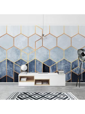 F-1169 Golden Hexagons Blue-Gold